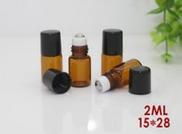 Wholesale Roll On Perfume Bottle Refillable ml Amber Glass Micro Mini Roll on Glass Bottles with Metal Roller Balls Black Caps By DHL