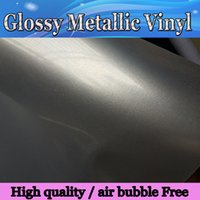 air bubble wrap - Gloss Silver Metallic Vinyl Wrap film With Air bubble Free Glossy orange Full Car Wrap covering tuning skin Size M Roll x66ft