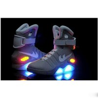 Wholesale Air Mag Men Limited Edition Back To The Future Top McFly Mags Grey Basketball Shoes With LED Lights Battery Charging Fashion Outdoor Shoe