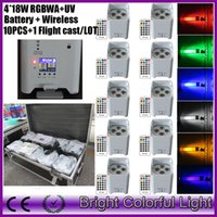 auto battery bar - 10pcs fly case led battery operated DJ light bar rgbawuv x18w wireless dmx remote control mini slim par uplight