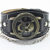 belt outlet free shipping - fashion personality Clamshell Skull Leather belt quartz Men s Watch Factory outlets Wristwatches