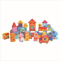 Wholesale Brightly colored circus animal pieces Blocks in different shape different picture to taching baby know the animal Wooden Stacking Set