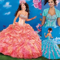 Cheap Sweet 16 Dresses Ball Gowns Quinceanera Dresses Sweetheart Neckline Corset Coral Organza Back Bandage Ruffles 2015 Dress For Girls Birthday