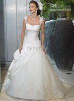 Wholesale 2016 Ivery Wedding Dresses Crystal Beaded Cap Sleeves Strapless Bridal Gown Princess Dress Taffeta Lace Lace Up Chapel Train