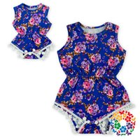 Wholesale Cheap Infant Rompers - (02)12pcs lot DHL free Cheap Infant Clothing Rompers Navy Floral Baby Romper Cotton Pom Pom Baby And Doll Romper On Sale