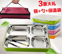 Wholesale Stainless Steel Lunch Box Adult Portable Insulation Box Fast Food Snack Plate With Cover