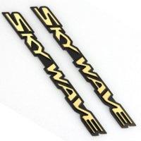 Wholesale 2 Pieces Set Golden Universal Car Motorcycle Stickers Hard Skywave Logo Stickers for Decoration Size cm cm