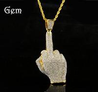 big rhinestone necklace - 76 cm twist chain European streetwear hiphop full rhinestone alloy Big finger Pendant necklace Middle finger hip hop Necklace