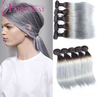 Cheap 2016 Ombre silver Color 1B Grey Brazilian straight hair colorful hair ,Human Hair extension 3pcs lot Hot Beauty Ombre Virginn Hair Wefts