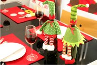 Wholesale New Style Christmas Fashion Red Wine Bottle Cover Restaurant Ornament Spirit Skirt Dot Style And Fringe Pattern