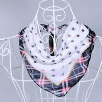 america bandana - Europe America Style Small Square Scarf Printed Fashion Round Dot Chiffon scarves cm Lady Small Bandana Women s scarf shawl pashmina