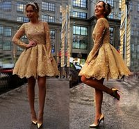 short fromal dresses - Gold Short lace Party Dresses Jewel Sheer Neck Illusion Long Sleeves Prom Dress Cheap Sequins Lacing Fromal Homecoming Dress