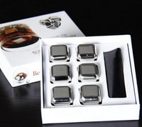 beer coolers wedding - Fantasy Stainless Steel Whiskey Stones Ice Cubes Soapstone Glacier Chillers FOR beer Bar household Wedding Gift Favor Christmas