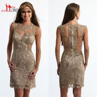 arab light price - Lace Beading Full Short Cocktail Dresses Sheer See Through Back Jewel Low Price Dark Gold Arab Simple Cheap Party Gowns Custom Made
