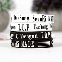 Wholesale Shipping Korean POP Band EXO Silicone Wristband Printed Bracelet for Fans A Great Way To Show Your Support