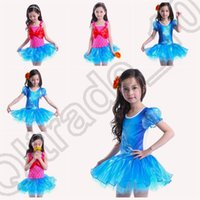 ballet tutu leotard - 50PCS LJJM107 Girls Kids Ariel Mermaid Leotard Ballet Dance Fancy Tutu Dress Bowknot Dancewear Costume Lace Dress