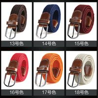 Wholesale Colorful Stretch Belts - wholesale mens braided elastic belt high stretch woven leisure belts quality casual waistband colorful fabric belt 35mm