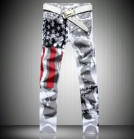 Wholesale 2016 new jogging American flag painted jeans brand jeans men straight men s casual pants men s denim trousers micro bomb