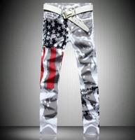 al por mayor xs micro-2016 nuevos pantalones vaqueros estadounidenses que activan la bandera pintada marca de jeans hombres rectos de los pantalones de mezclilla de los hombres pantalones casuales de los hombres de micro-bomba 28-42