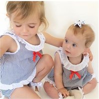 baby sailor - 2016 Ins Baby Girl Clothes Two Piece Sailor Summer Outfits Stripe Vest Tops Shirt Bloomers Shorts Diaper Covers Bowknot Kids Shorts Sets