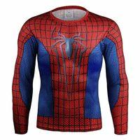 Wholesale 3d high quality compression long sleeve T shirt superman batman spiderman captain America fitness gym t shirts men T shirt