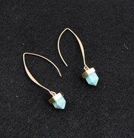 Wholesale European Ethnic Jewelry Silver Gold Earrings Hexagonal Prism Pile Imitation Turquoise Double Marble Stone Stud Earrings Women sp