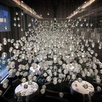 crystal glass award - Italian Award lighting indoor Crystal Ball led indoor lamp LED Meteor Shower Glass Suspension lampshade Restaurante Hotel Hom