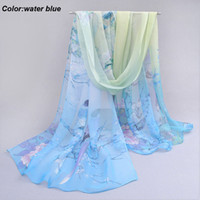 Cheap Soft beautiful womens blue scarf water blue infinity silk chiffon scarf best place to buy scarves