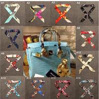 Wholesale Infinity Scarves Ladies Fashion Silk Scarf Designer Scarf for Women bag Decoration Ribbon Headscarf Twilly Print
