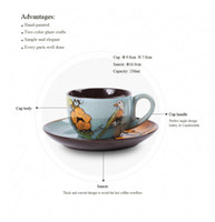 Wholesale 6sets home office use Coffee cup ceramic Creative China style hand painting spring bird pattern ml breakfast milk tea mugs business gift