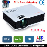 Wholesale DHL UNIC UC40 LED Projector Mini Pico portable D Projector HDMI Home Theater beamer multimedia proyector Full HD1080P