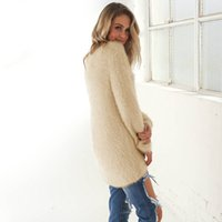 Wholesale Long Sleeved Sweater Coat Fashion Pure color Dress Coral Fleece