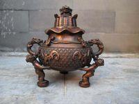 Wholesale Chinese Buddhism Bronze Dragon Toad Three Boy Bat Incense burner Censer