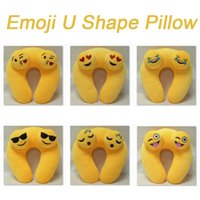 Wholesale New Emoji U Shape Pillows Yellow Soft Emoji Emotion Cartoon Flight Plane Bus Car Camping Travel Home Office Nap Plush Cushion Christmas Gift