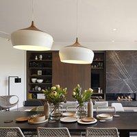Wholesale Modern pendant light Oak Wood lamp E27 socket wood lampholder Hanging light white black Optionally mm mm