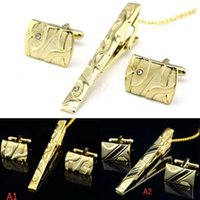 Wholesale Man Dress Shirt Necktie Tie Bar Clasp Gold Clip Pin Cufflinks Set Party C00126 OST