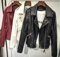 women black short leather jacket - Women Korean Small Leather Jacket Autumn New PU Slim Skinny Motorcycle Jacket Big Size All match Soft Leather