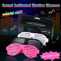 Wholesale White Sound Activated Shutter Flashing LED Multicolor Shades Rave Glasses cold light luminous glasses night club concert party holiday