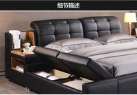 bedroom leather furniture - Genuine Leather Bedroom Furniture Beds Modern
