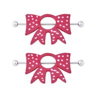Wholesale Cute Red Bowknot Nipple Nipple Shields Rings Jewelry g Piercing Bars Barbells Pair Sexy Red Bow