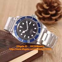 Новый роскошный высокие черные Heritage Quality Bay Автоматическая Мужские часы 79220B синий ободок черный циферблат браслет