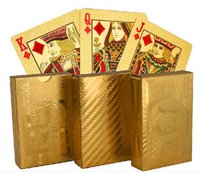 Wholesale hot designs Gold foil plated playing cards Plastic Poker US dollar Euro Style General style D663