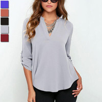 Wholesale 7 Colors Long Sleeve Women Chiffon Blouses Shirts Sexy V neck Female Casual Loose Tops Summer Plus Size Ladies Office Shirts
