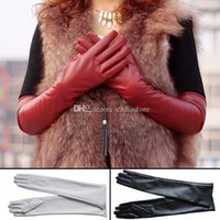Wholesale Womens Lambskin Leather Opera Long gloves BLACK Lambskin Warm Lined C00454 SMAD