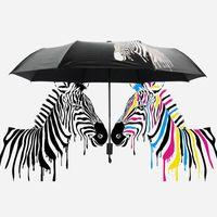 Wholesale Creative Unisex Color Change Zebra Folding Umbrella Anti UV Sun Rain Protection Vinyl coating Parasol Novelty Gift