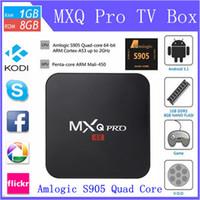 Wholesale 2PCS MXQ Pro Android TV Box Kodi Pre installed Amlogic S905 Quad Core WiFi K H better than Q7 M8S MX MXQ DHL