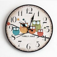 Wholesale Boreal Europe Style Wall Clock Owl Vintage Rustis Shabby Art Quartz Bracket Clock For Home Cafe Office Decoration