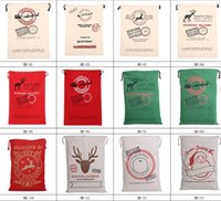 Wholesale Christmas Large Canvas Bags styles for choose Santa Claus Drawstring Bags With Reindeers cotton Christmas Gift Sack Bags