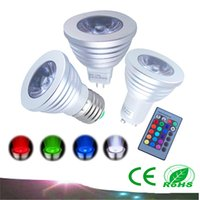 Wholesale LED RGB Spotlight Color Changing W LED RGB Light Bulb Lamp E27 GU10 MR16 with Key Remote Control V V