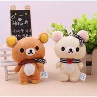 Wholesale 1Pair Kawaii Standing CM Lover Rilakkuma Bear Plush Stuffed TOY Soft Figure DOLL Key Chain Design BAG Pendant Charm TOY